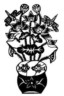 精美盆花窗花剪纸图案