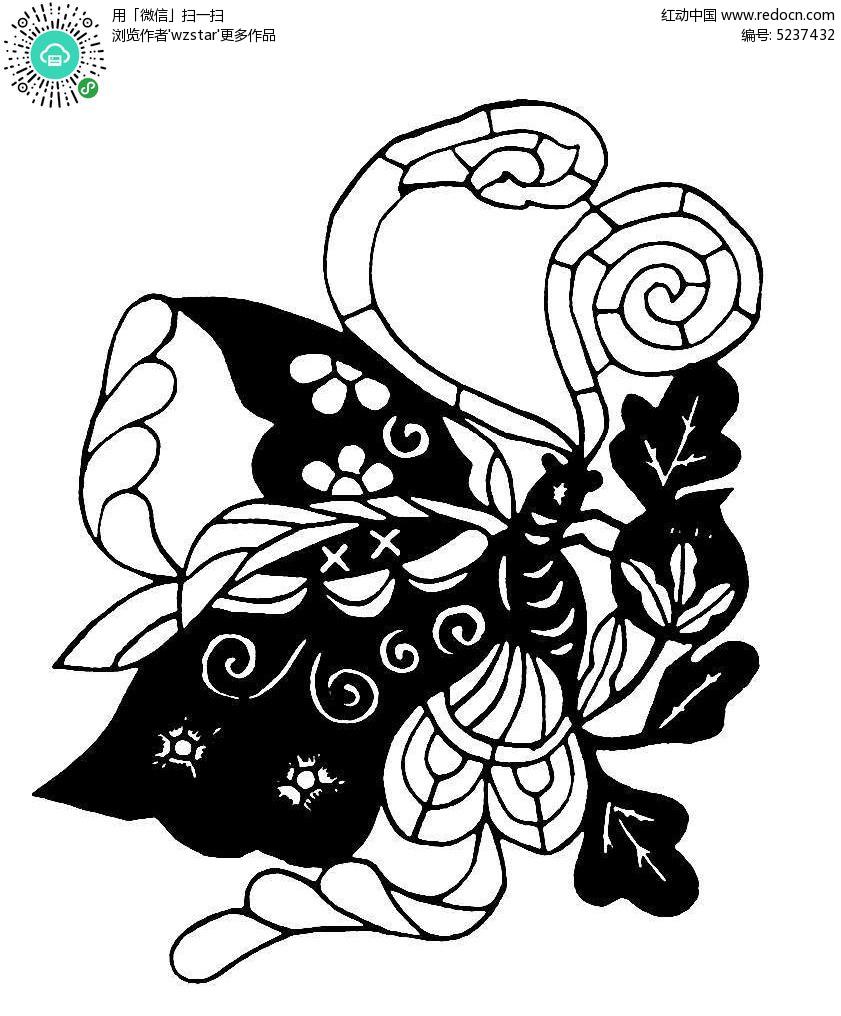 昆虫剪纸图纹素材