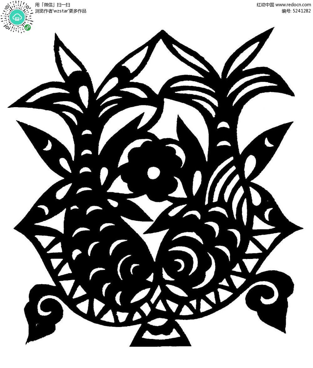 濡以沫的鱼黑白剪纸图案AI免费下载 传统工艺品素材 编号5241282