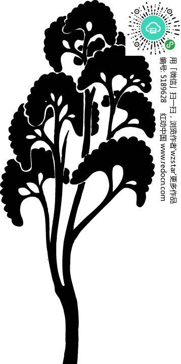 茂盛的小树矢量图ai免费下载_花纹花边素材