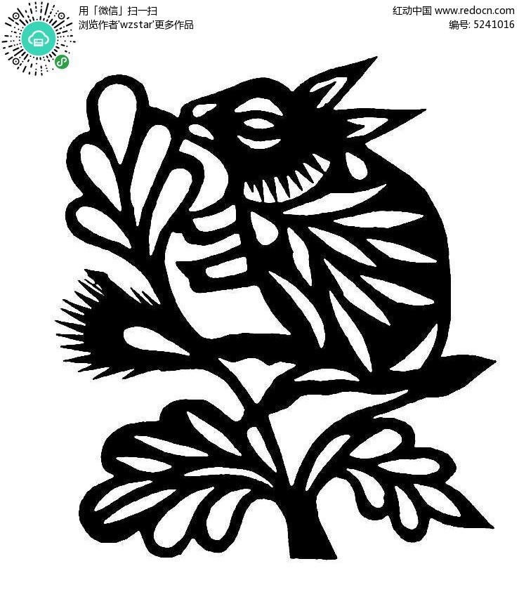 树枝上的松树黑白剪纸图案AI素材免费下载 编号5241016 红动网