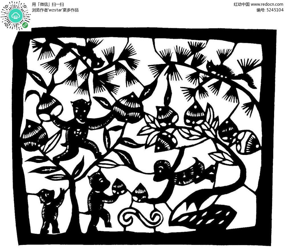 松树上的松鼠看猴子偷桃黑白 剪纸 图