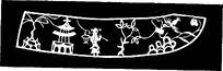 亭子人物花卉镂空装饰花纹