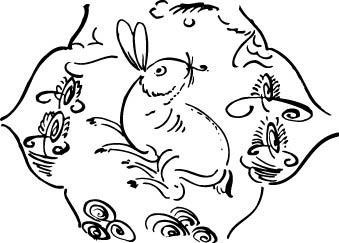 兔子装饰黑白图案图片