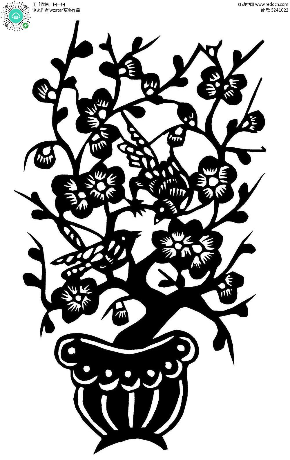 梅花树枝幼儿简笔画展示