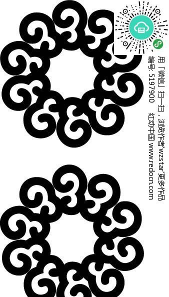 圆形花型纹身图案矢量图