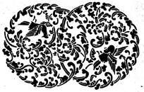 圆形卷草鸟儿剪纸图案