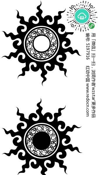 圆形纹身图案矢量图