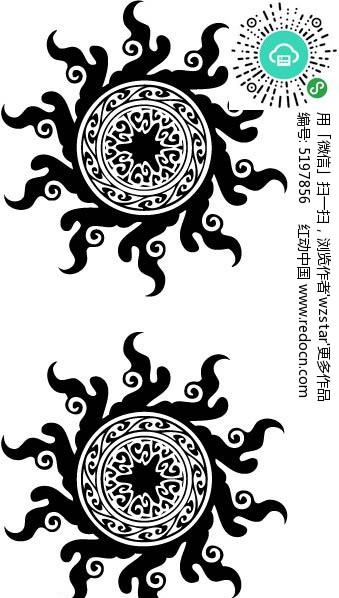 中国传统创意纹身图案矢量图ai免费下载_其他装饰素材图片