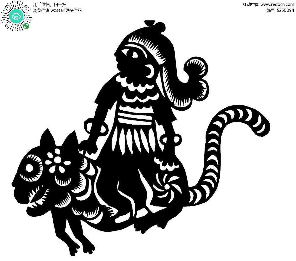 抽象老虎人物图案
