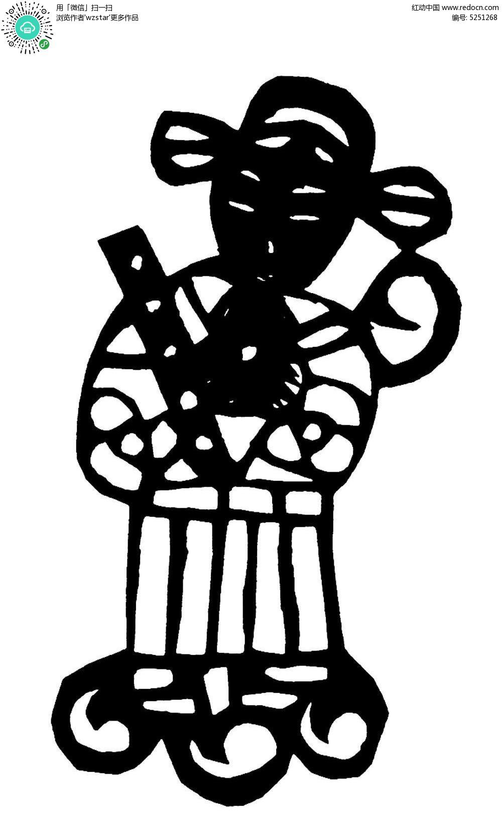 古代人物剪纸图案AI素材免费下载 编号5251268 红动网