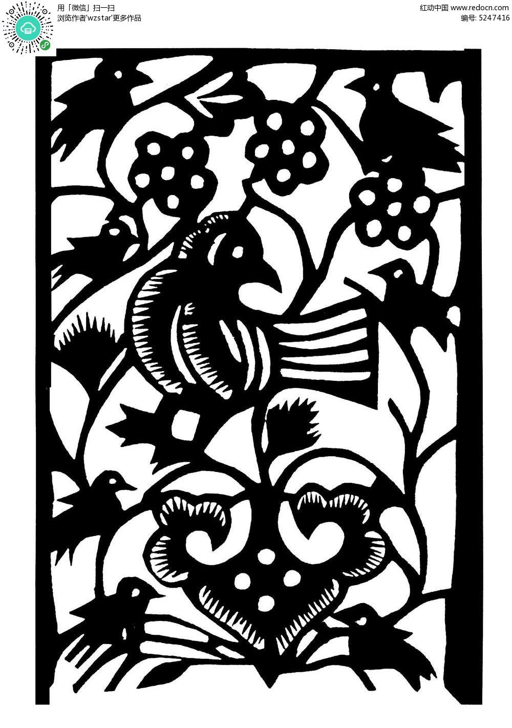 梅花树上的鸟黑白剪纸图AI素材免费下载 编号5247416 红动网