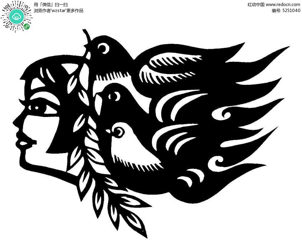 手绘藏族姑娘侧脸