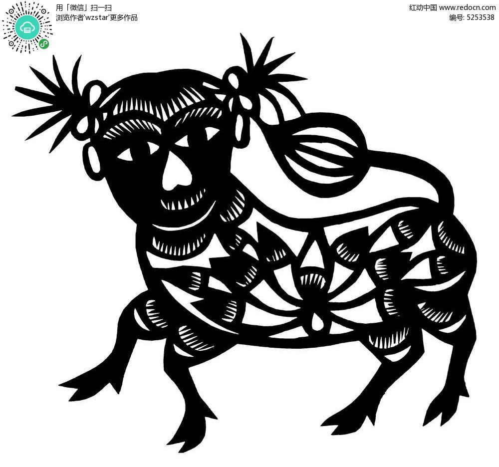 免费素材 矢量素材 艺术文化 传统工艺品 人头动物身图案  请您分享