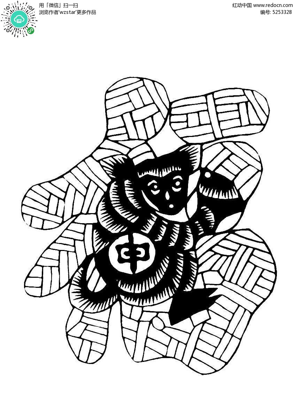 十二生肖福字背景剪纸图案