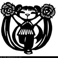 跳舞的小女孩剪纸矢量素材
