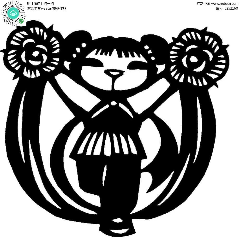 舞着花团丝带的小女孩黑白剪纸图