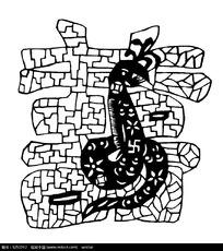 古典网格双喜蛇纹