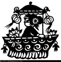 坐莲花船的女人