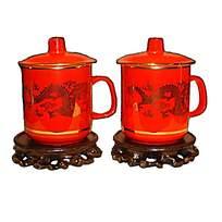 红色龙纹瓷杯