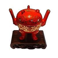 三脚中国红香炉瓷器