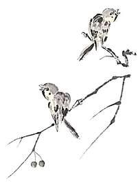 水墨画小鸟