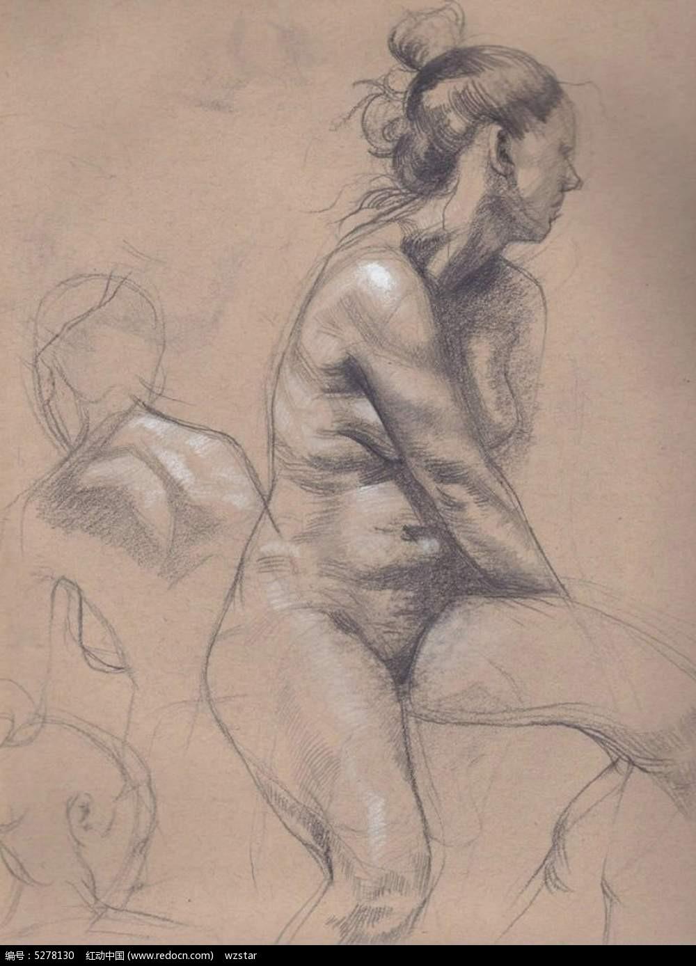 赤裸的妇女简洁人物素描图片