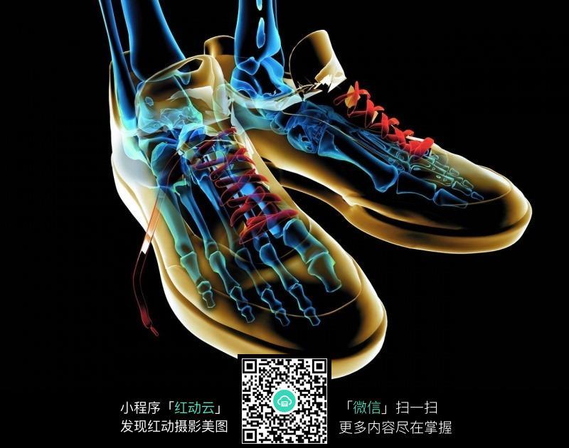 抽象派人体脚掌骨骼透视图