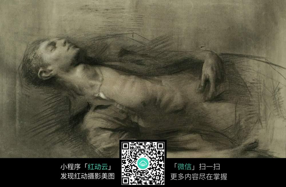 创意男子躺下素描图片图片