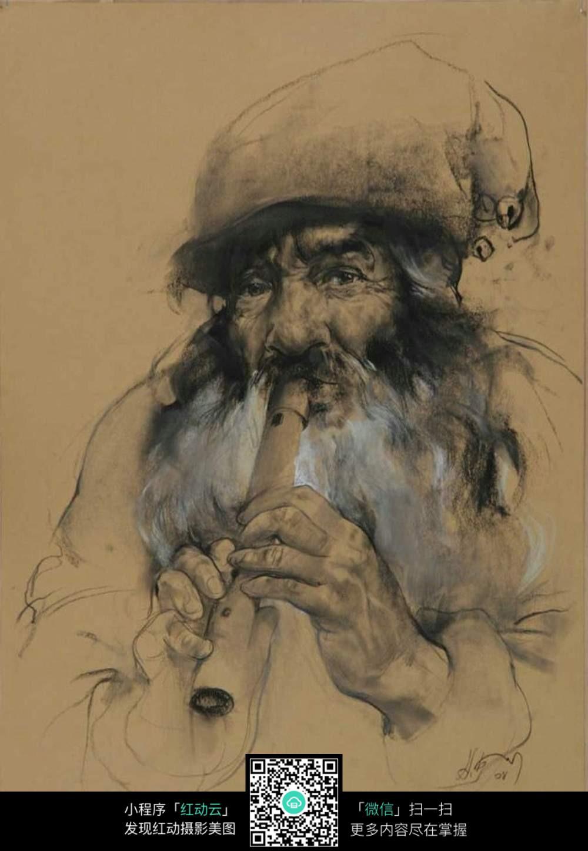 吹笛子的老人素描绘画图片免费下载 编号5278126 红动网