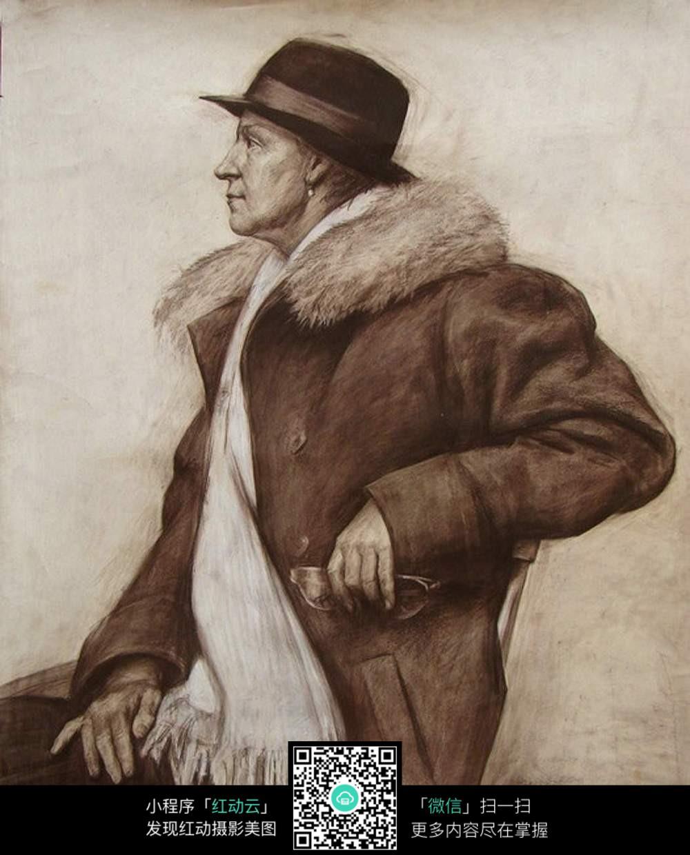 速写 手绘 绘画 铅笔画 jpg 高清图片 半身像 戴礼帽的男人 范画 现代