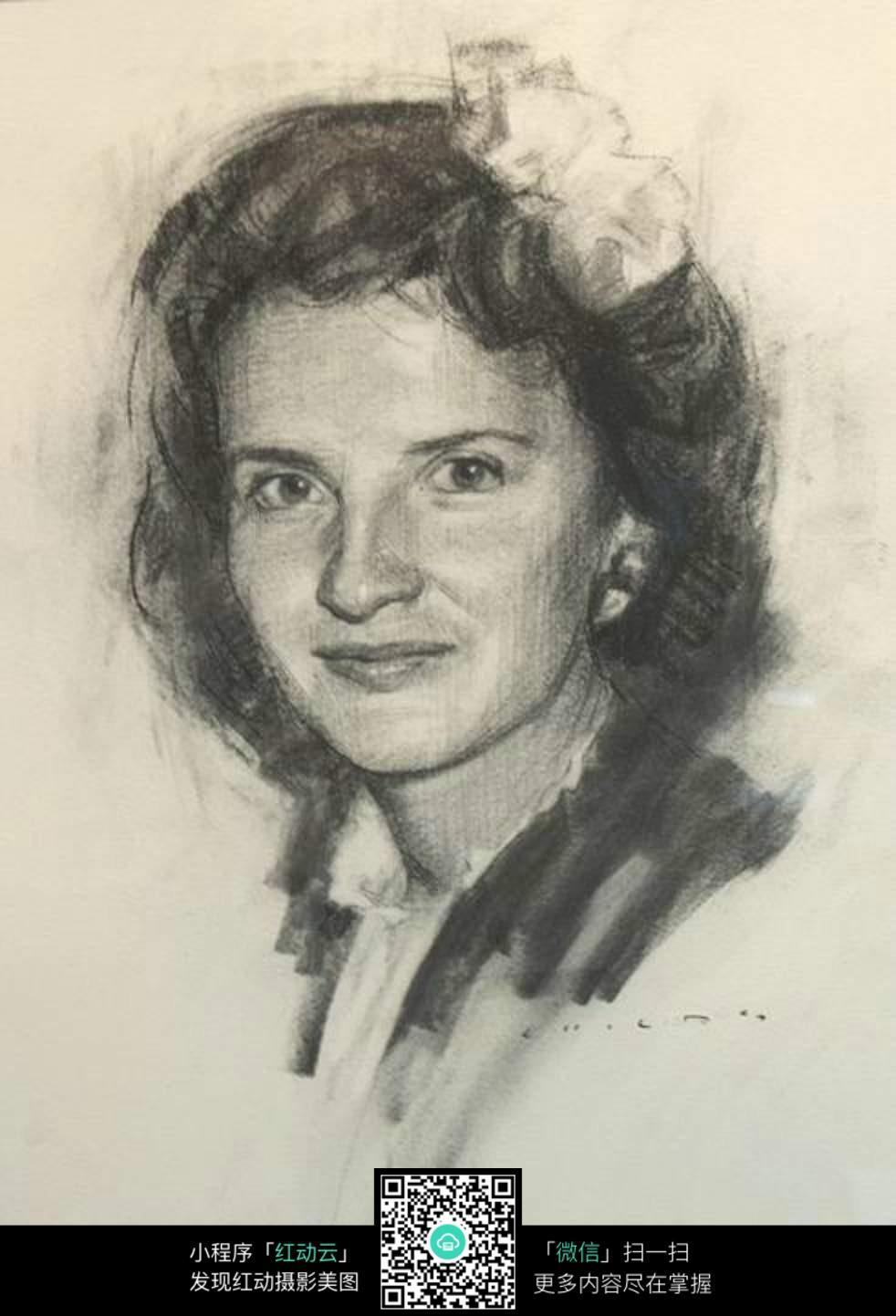 头花的漂亮女性素描图像 书画文字图片图片