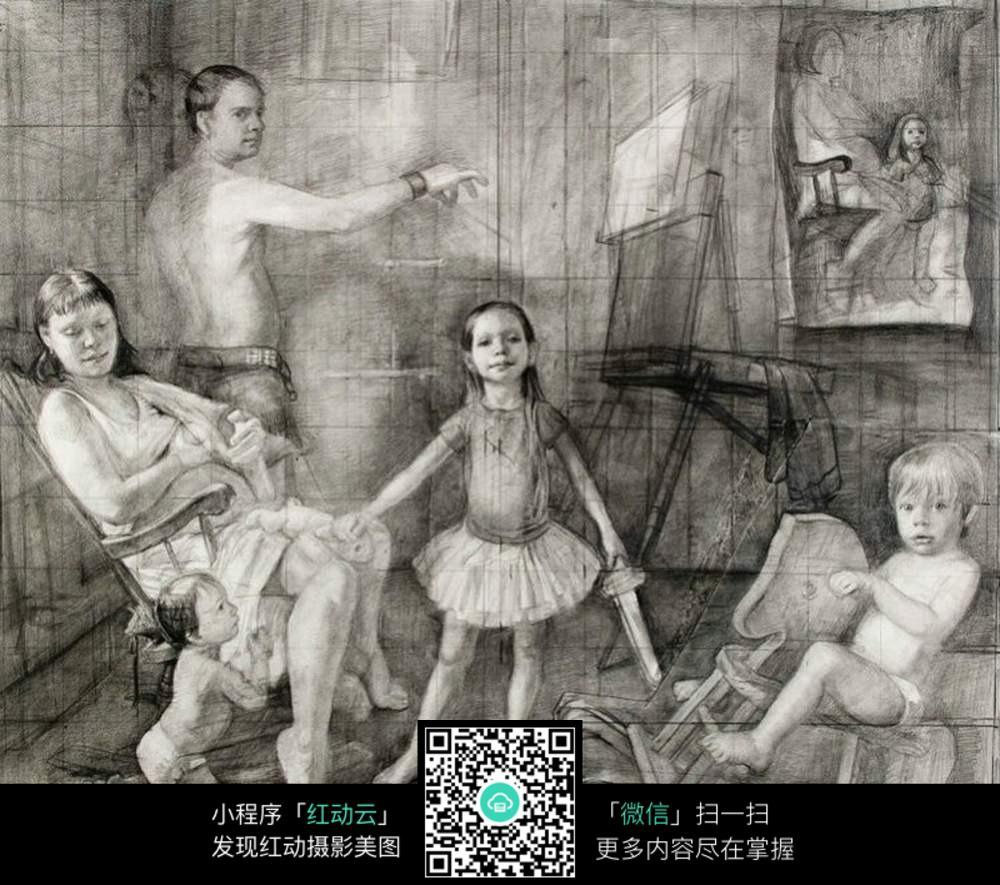 儿童人物场景素描图片