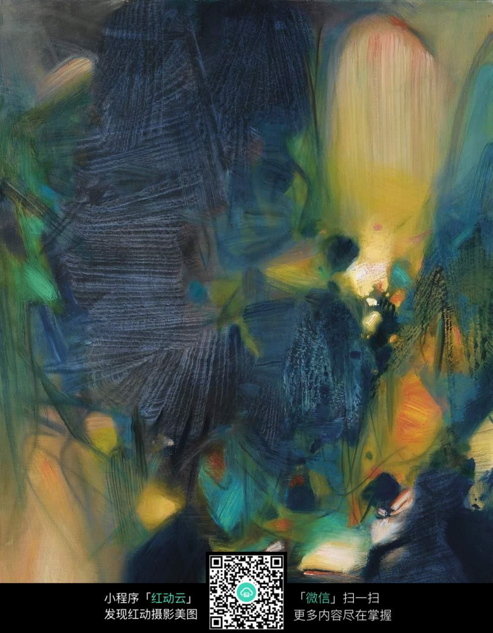蓝色主调抽象水彩画图片