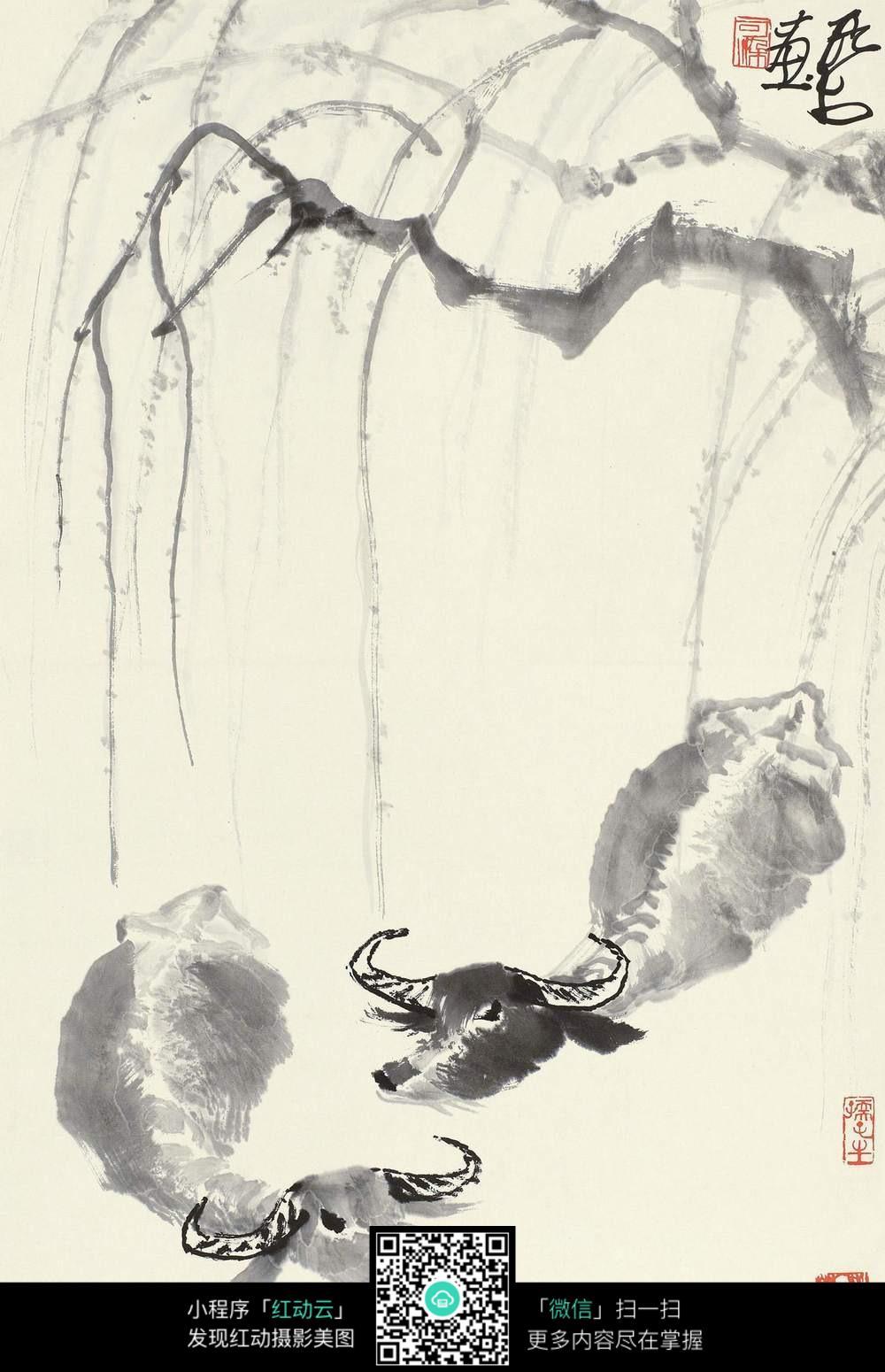 柳树 国画图片