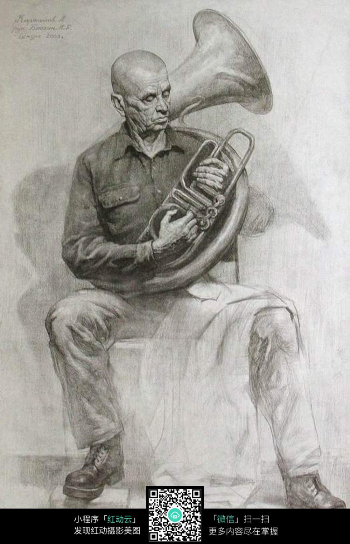 乐器男子素描写真图片