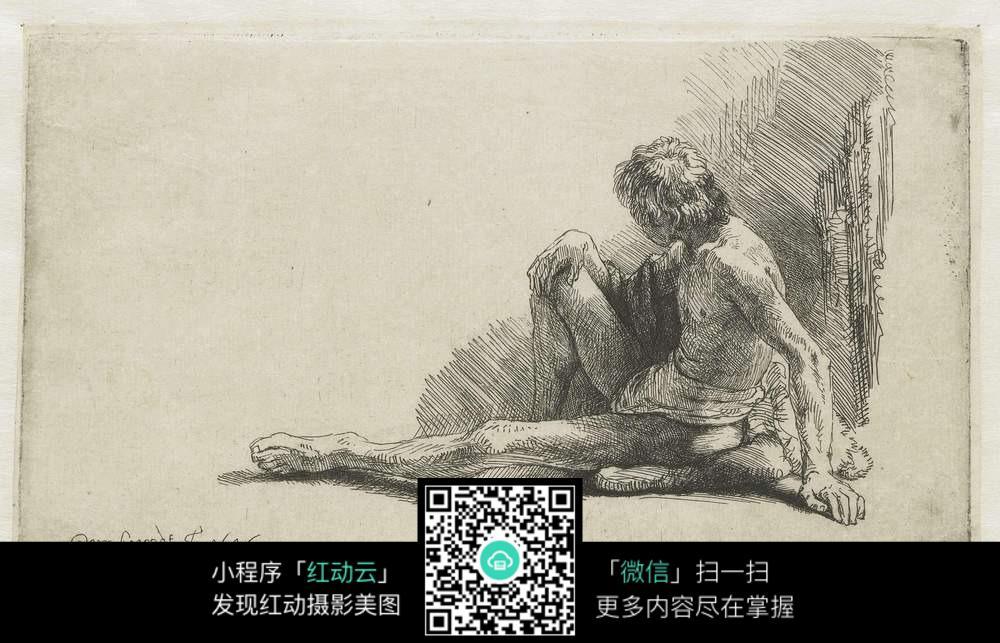 人物素描写生  写实手绘素材  户外场景素描  国外名家手绘画  男性