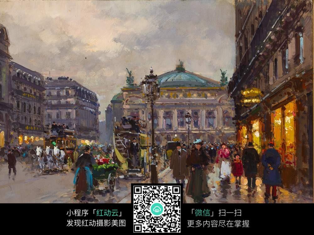 欧洲古典街道油画图片