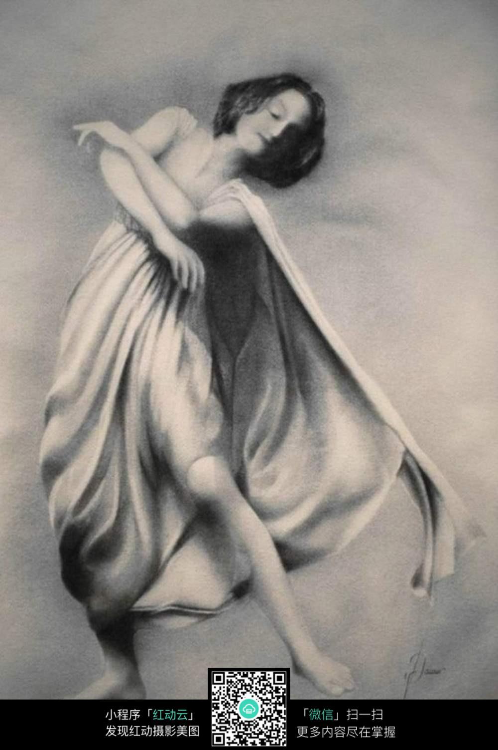 唯美手绘人物黑白画女背影高清图片