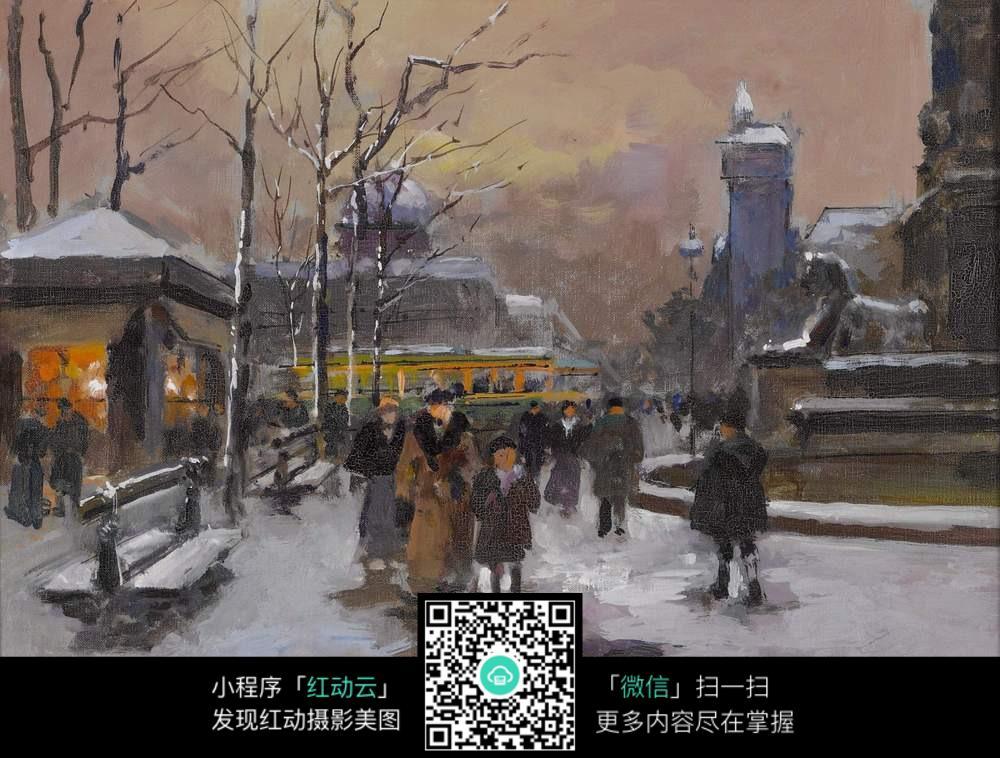 雪景油画图片-初学油画临摹图片_风景图片_水彩画图片_儿童画画大全