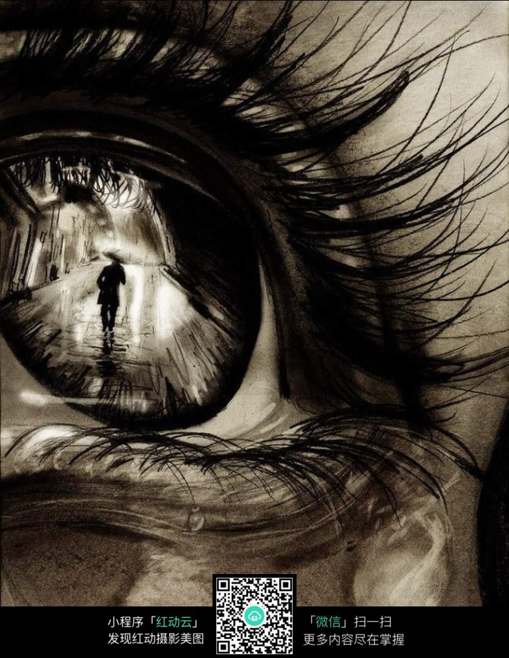 眼睛里的映像创意素描图片图片