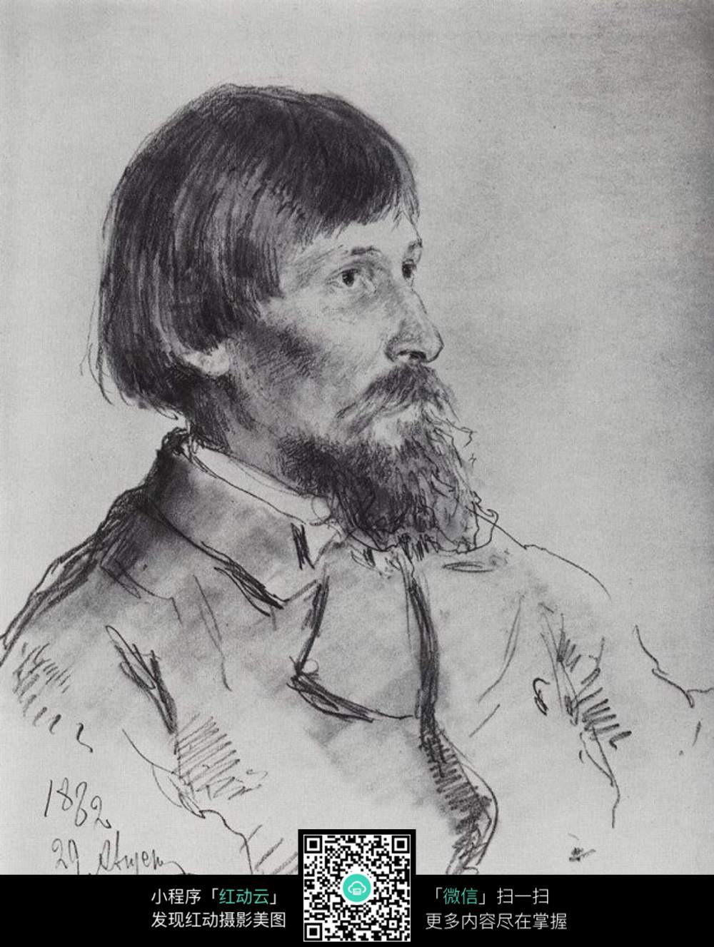 英国男子侧面肖像素描图片免费下载 红动网