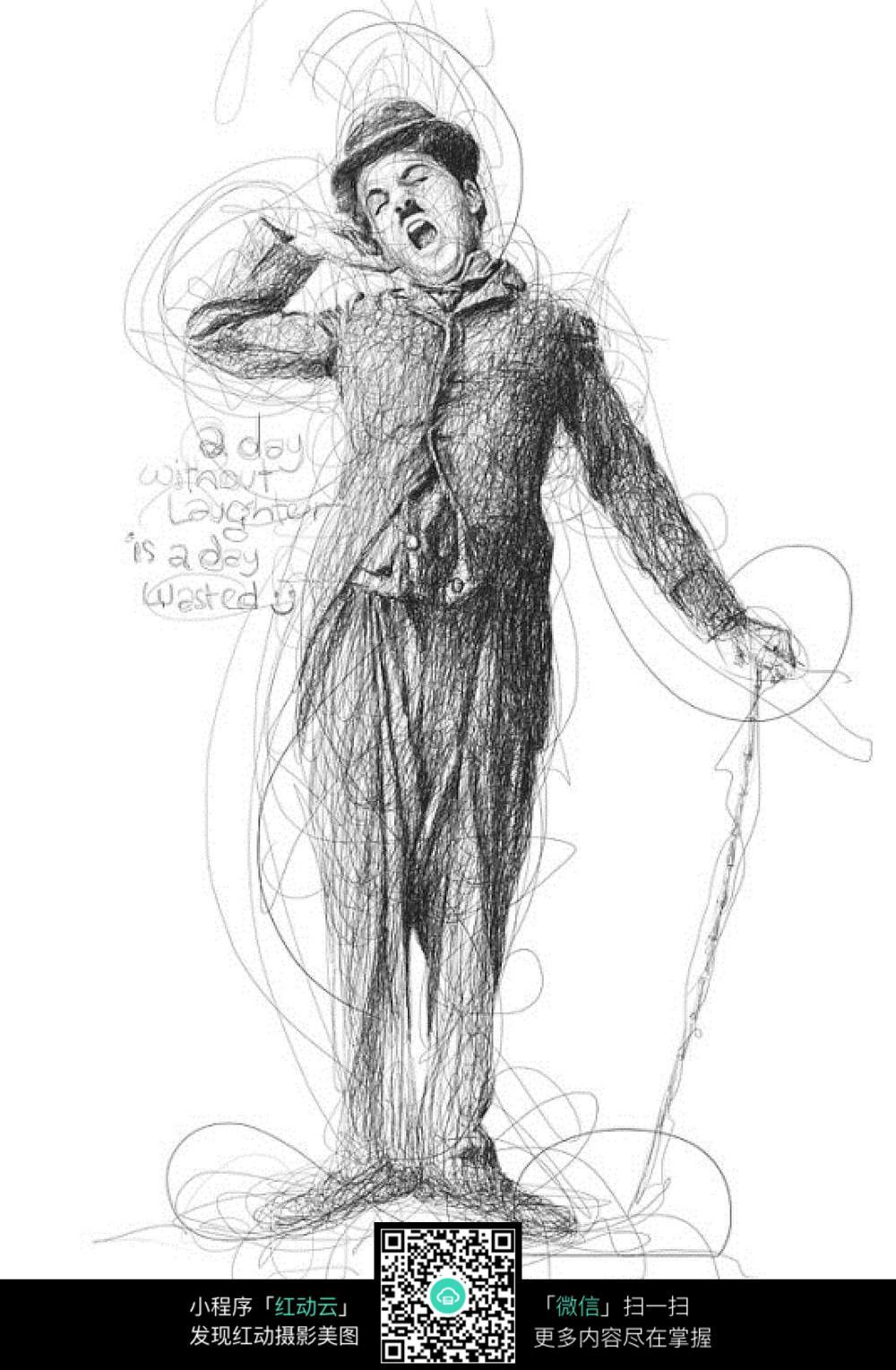 卓别林素描画像