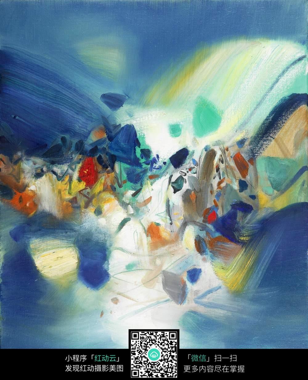 抽象河流水彩画图片素材