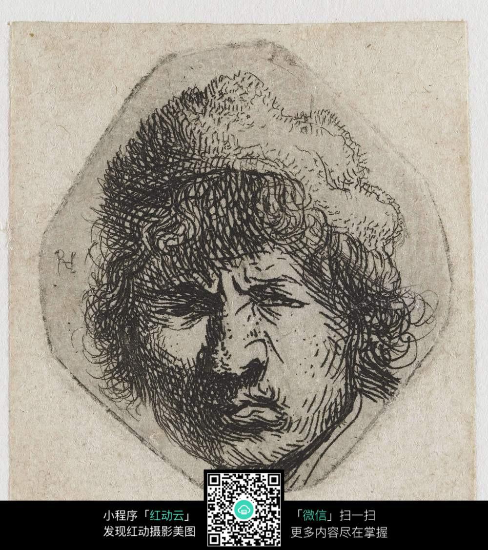 免费素材 图片素材 文化艺术 其他 抽象男子头像素描图片