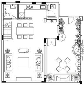 复式楼底层无卧室CAD平面图