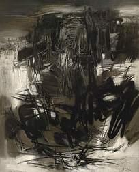 黑色水墨写意抽象图画