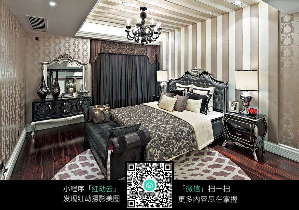 欧式黑白风格室内卧室效果图片_室内设计图片图片