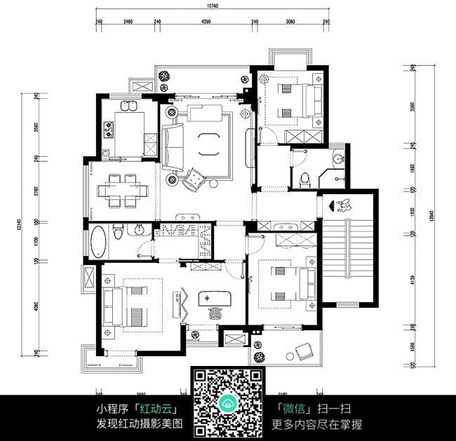 三室一厅大户型cad平面图