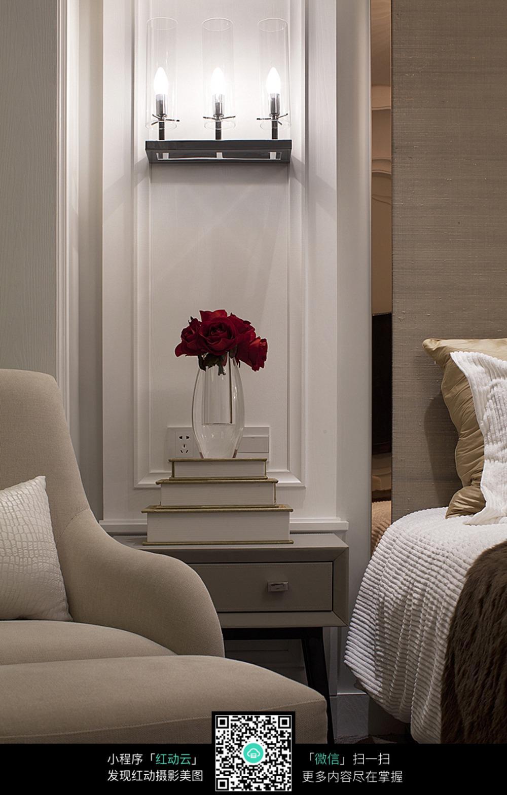 室内设计平面布置图 床头一角设计